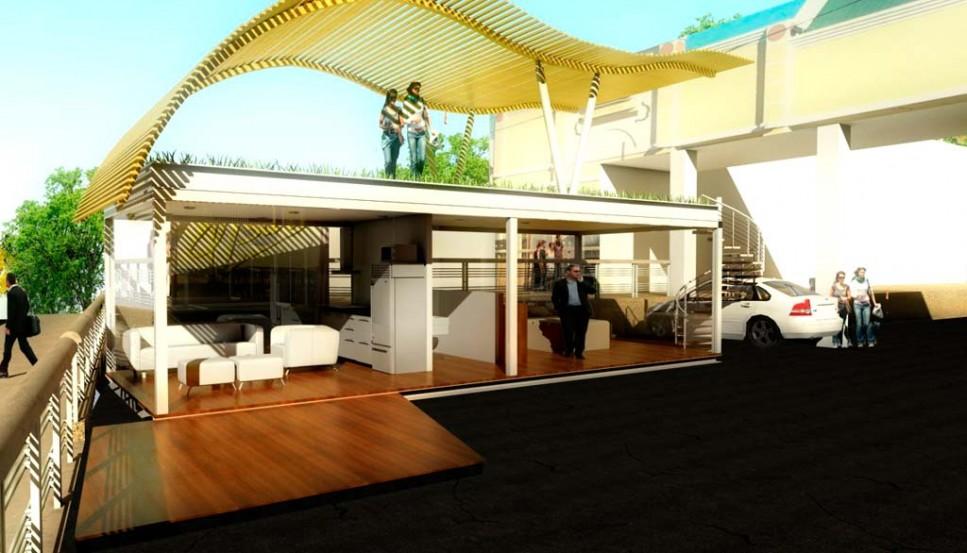 Oficina con container dise o interior y exterior con for Diseno de casas interior y exterior