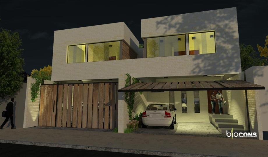 Duplex vs con fachada nocturno for Duplex con garage